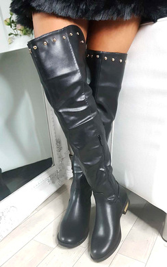 View the Kaylie Gold Stud Knee High Boots online at iKrush