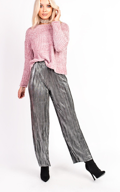 View the Shelly High Waist Wide Leg Pleated Trousers online at iKrush