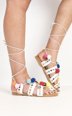 View the Lopez Pom Pom Sandals online at iKrush