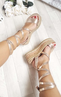 View the Erynn Cork Strappy Rose Gold Wedges online at iKrush