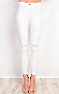 View the Lena High Waisted Ripped Skinny Jeans online at iKrush
