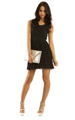 View the Kolby Pleated Chiffon Dress in Black online at iKrush