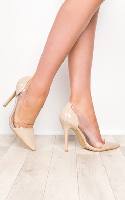 View the Milly Nude Patent Clear Panel Court Heels online at iKrush