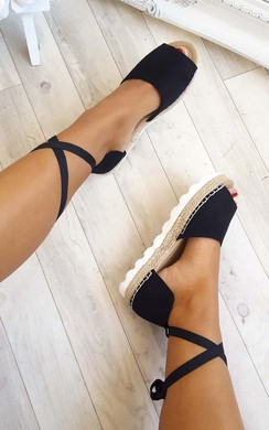 View the Lillian Lace Up Peep Toe Espadrilles online at iKrush