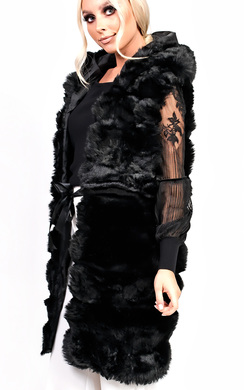 View the Karla Faux Fur Hooded Waistcoat online at iKrush