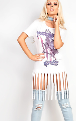 View the Dora Slogan Tassel T-Shirt Dress online at iKrush