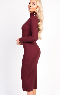 View the Dililah High Neck Button Longline Jumper Dress online at iKrush