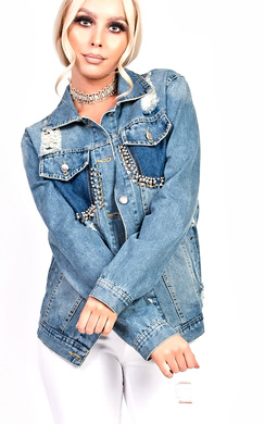 View the Merca Distressed Studded Oversized Denim Jacket  online at iKrush