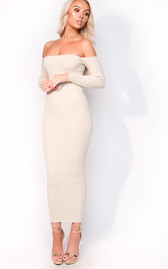 View the Ravena Midi Long Sleeve Bardot Luxe Bandage Dress online at iKrush