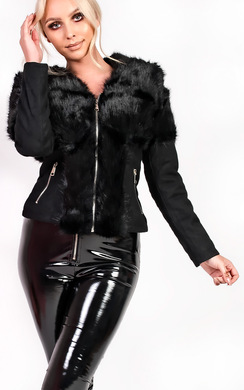 View the Monika Faux Fur Suede Biker Jacket online at iKrush