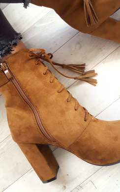 View the Kiki Faux Suede Lace up Tassel Ankle Boots online at iKrush