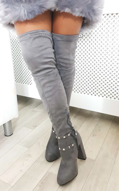 View the Ninita Faux Suede Studded Tie Knee High Boots  online at iKrush