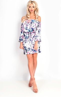 View the Becci Bardot Flute Sleeve Floral Dress online at iKrush