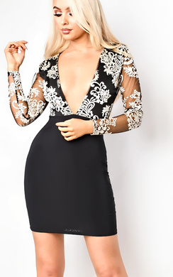 View the Karina Deep Plunge Bodycon Dress online at iKrush