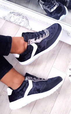 View the Kristen Velvet Lace Up Ribbon Trainers online at iKrush