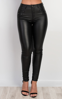 View the Aisha Faux Leather Jeans online at iKrush