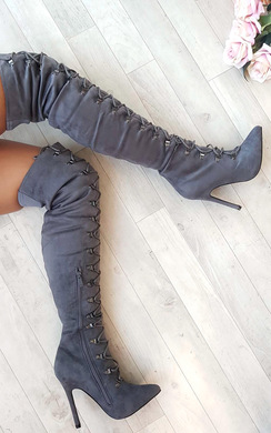 View the Alesia Corset Faux Suede Boots online at iKrush