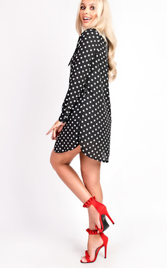 View the Sassi Polka Dot Tie Neck Blouse Dress online at iKrush