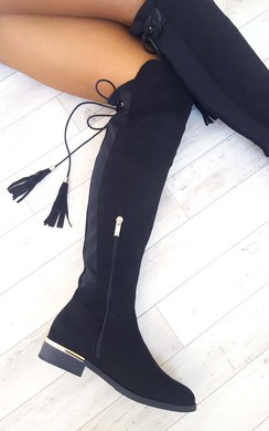 View the Raven Faux Suede Tie Tassel Knee High Boots online at iKrush