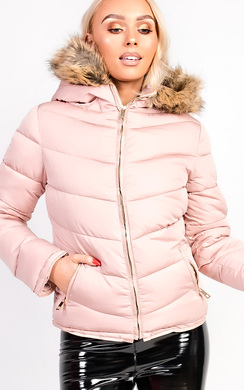 View the Lena Padded Faux Fur Hooded Jacket online at iKrush