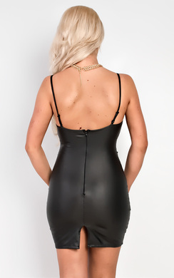 View the Selena Faux Leather Bodycon Dress online at iKrush