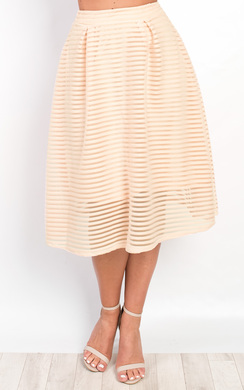 View the Helena Textured Stripe Circle Skirt  online at iKrush
