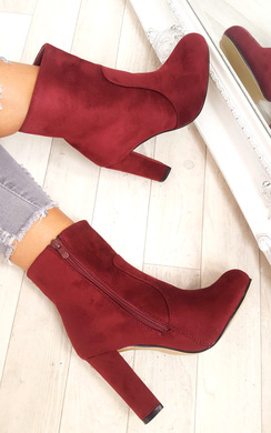 View the Ellie Faux Suede Heeled Ankle Boots online at iKrush