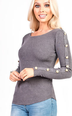 View the Lily Thin Knit Button Sleeve Stretch Jumper online at iKrush