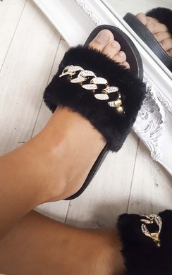View the Loula Faux Fur Chain Sliders online at iKrush