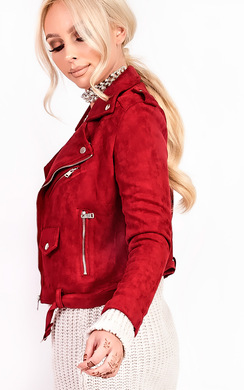 View the Mia Biker Faux Suede Jacket online at iKrush