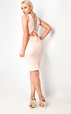View the Daisey Vest Lace Up Bodycon Dress online at iKrush