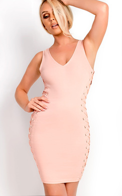 View the Liviana Lace Up Bodycon Dress online at iKrush