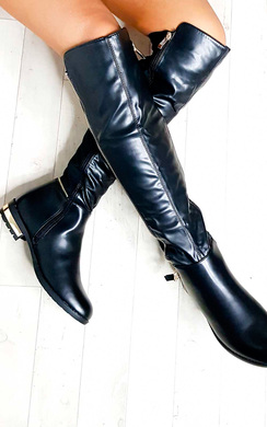 View the Jodie Faux Leather Gold Bar Knee High Boots online at iKrush