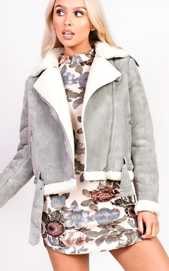 View the Arianna Faux Fur Shearling Jacket online at iKrush