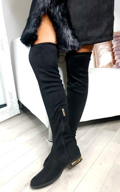 View the Katie Faux Suede Tassel Knee High Boots online at iKrush