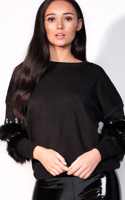 View the Reese Faux Fur Embellished Panel Knitted Jumper online at iKrush