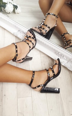 View the Miley Studded Patent Block Heels online at iKrush