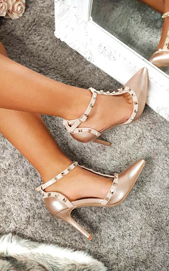 View the Kimm Multi Strap T-Bar Studded Court Heels online at iKrush
