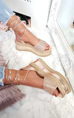 View the Adalyn Metallic Diamante Lace Up Wedges online at iKrush