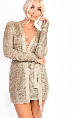 View the Alaska Metallic Tie Waist Knit Dress online at iKrush