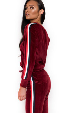 View the Alexa Striped Velour Tracksuit online at iKrush