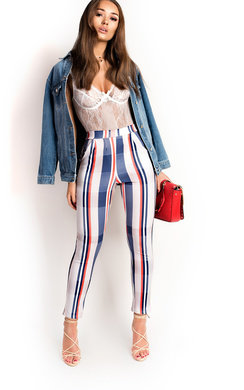View the Ally Highwaisted Striped Trousers online at iKrush