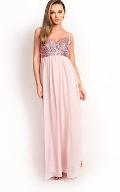 View the Amelie Sequin Floaty Maxi Dress online at iKrush