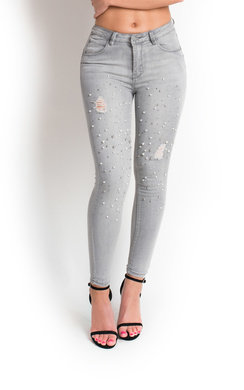 View the Anja Pearl Embellished Distressed Skinny Jeans online at iKrush