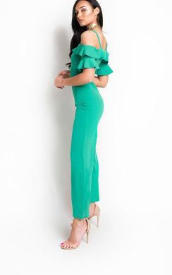 View the Aretha Bardot Frill Jumpsuit  online at iKrush