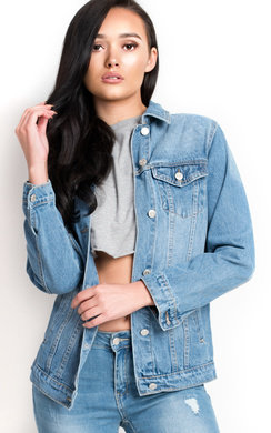 View the Arlo Embroidered Sequin Long-lined Denim Jacket online at iKrush