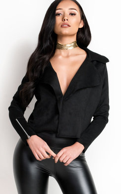 View the Camilla Faux Suede Waterfall Jacket online at iKrush