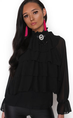 View the Casey Ruffle High Neck Blouse online at iKrush