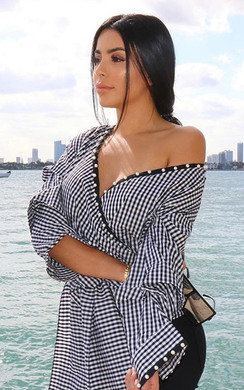 View the Cassia Gingham Wrap Blouse  online at iKrush