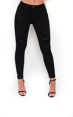 View the Cici Black Distressed Mid Rise Jeans online at iKrush